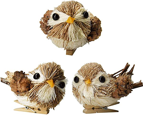 YuQi Handmade Sparrow With Clip Sets Of 3 Artificial Decorations Fake Birds For Arts Ornaments And Crafts Home D Cor Accents For Country Christmas Tree Grey