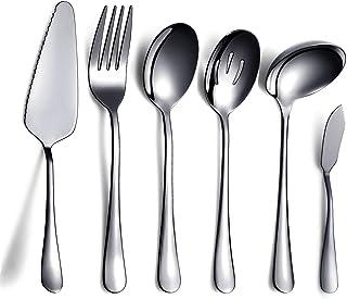 HOMQUEN 6 Piezas de Negro Juego de Cubiertos,Incluye Servidor de Pastel, Cuchara Ranurada para Servir, Cuchara para Servir, Tenedor para Carne Fría, Cuchillo para Mantequilla, Cucharón para Sopa