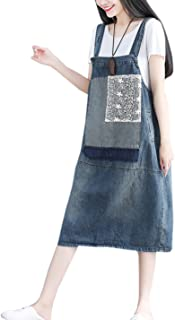 Women's Loose Baggy Midi Length Denim Jeans Jumpers Overall Pinafore Dress Skirt