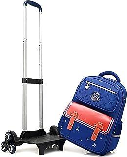 Travel Climbing Stairs Student Backpacks, Kids Rolling Backpacks Trolley School Bag Wheeled Waterproof Removable Luggage Laptop Primary School 6 Wheels Ultra Light Bag,Brown