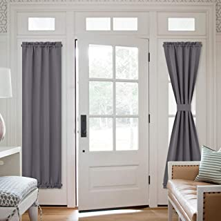NICETOWN French Door Window Curtains - Functional Thermal Insulated Blackout Curtain Panels for Patio Door/Sidelight Door 25W by 72L inches - Grey (2 Panels)