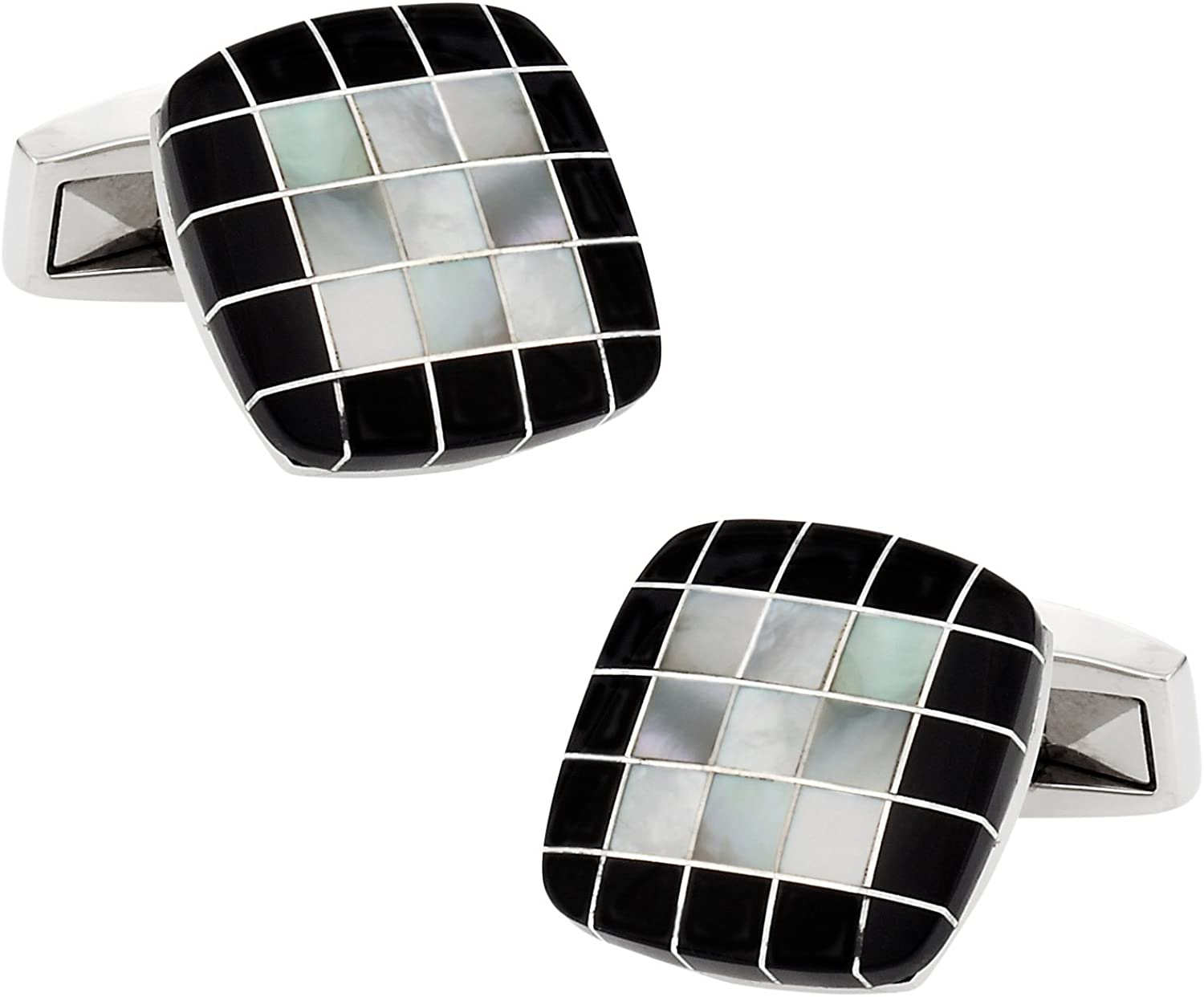 Black Onyx Mother of Pearl Square Cufflinks with Presentation Gift Box