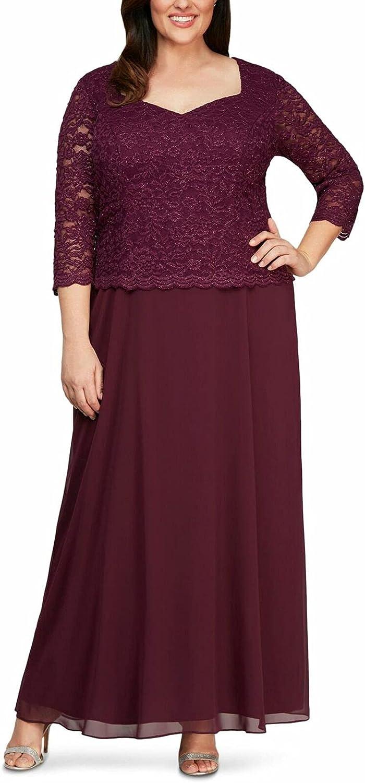 Alex Evenings Women's Plus Size Long Tea-Length Lace Mock Dress-Close Out