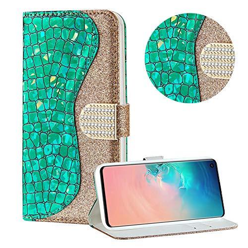Diamant Brieftasche Hülle für Galaxy S10,Grün Wallet Handyhülle für Galaxy S10,Moiky Ultra Dünn Stilvoll Laser Glitzer Farbe Block Klappbar Stand Silikon Handytasche