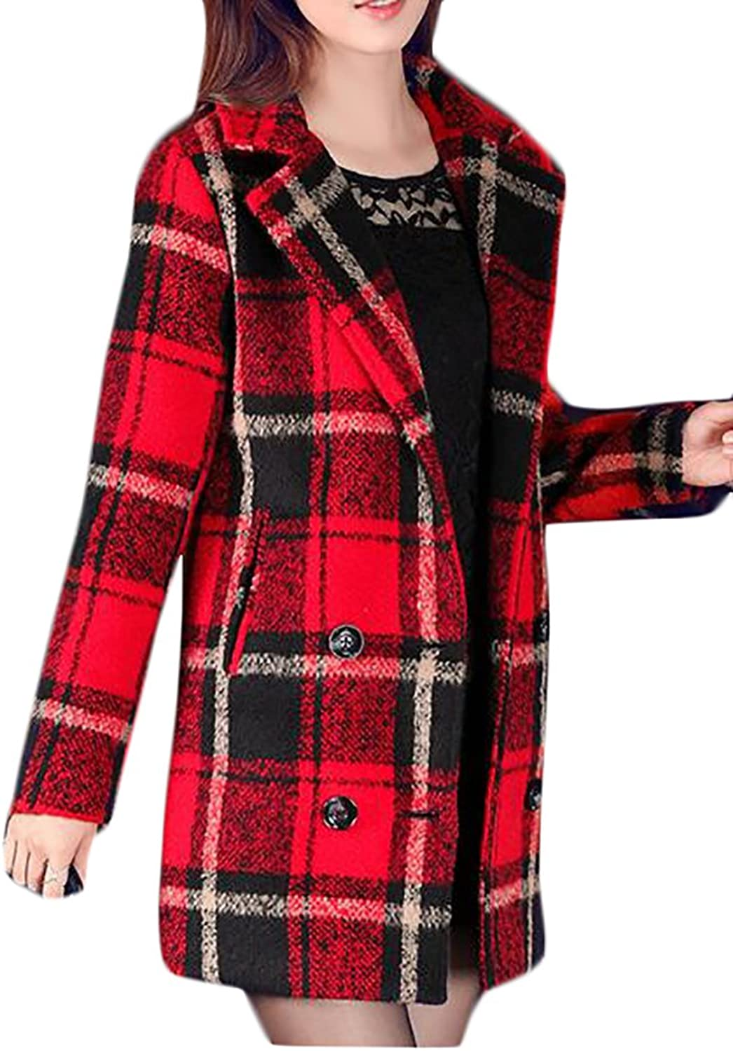 Domple Womens Vogue Plaid Lapel Double Breasted Wool Blend Pea Coats
