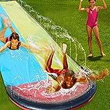 ADHW Swimming Pool Ice Breaker Water Slide Doppel Wasserrutschbahn mit Surfboard Wasserrutsche...