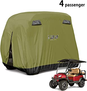 10L0L 4 Passenger Golf Cart Cover Fits EZGO, Club Car and Yamaha, 600D Waterproof with Extra PVC Coating Sunproof Dustproof Black Army Green