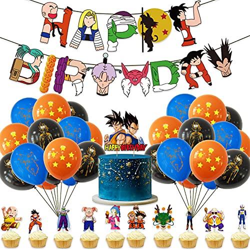 43Pcs Dragon Ball Decoración Fiesta, Hilloly Dragon Ball Cupcake Toppers Cumpleaños Decoracion, Decoración Cumpleaños Dragon Ball Pancarta de Fiesta de Goku Suministros de Fiesta Temáticos