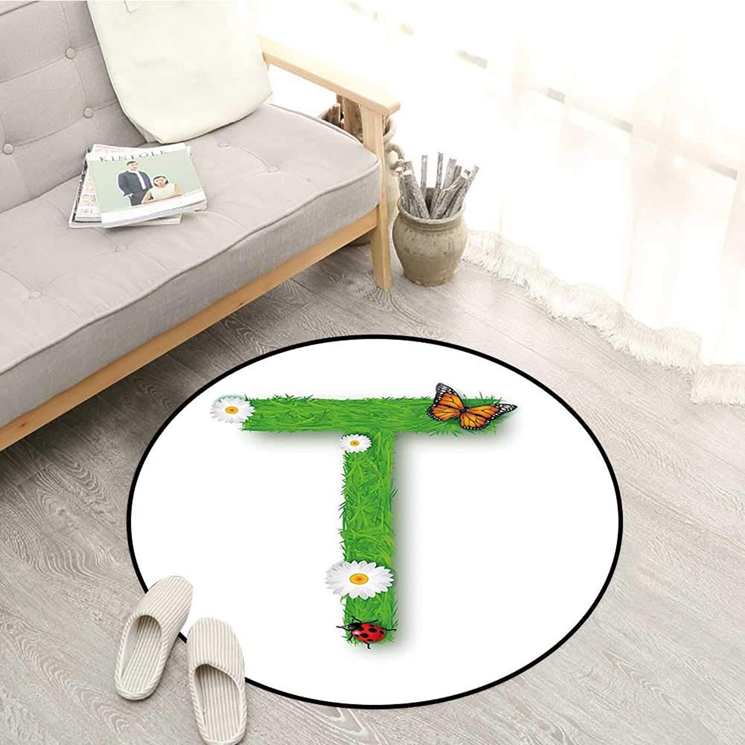Letter T Carpets Caps T with Flourishing Fragrance Botanical Design and Ladybug Girls Room Sofa Coffee Table Mat 4'11  Green Multicolor
