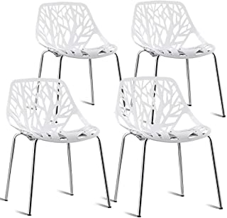 White Color Set of 4 Dining Chair Birch Sapling Accent Armless Side Chairs Stackable (U.S. Stock)