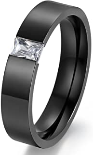 LILILEO Jewelry 6mm Black Stainless Steel Rectangle Cubic Zirconia CZ Inlay Rings Wedding Engagement Band Ring For Unisex