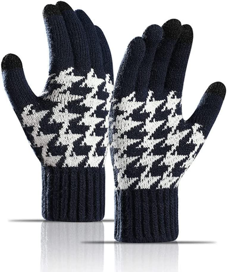Kxlqh Unisex Solid Magic Knit Gloves, Winter Wool Lined with Touchscreen Fingers Gloves, Warm Classic Fashion Soft Thermal Gloves