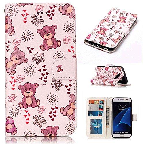 pinlu Custodia per Samsung Galaxy S7 Edge retrò PU Pelle Magnetico Antiurto Flip Cover con Appoggio Funzione Slot per Scheda Disegno Orso Rosa Modello