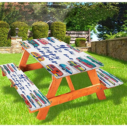 72' Polyester Picnic Table and Bench Fitted Tablecloth Cover,You Make Me Happy Camper Motivational Quote Cara Retro Style Travel Graphic Elastic Edge Fitted Tablecloth for Picnics Parties Outdoor,Mult