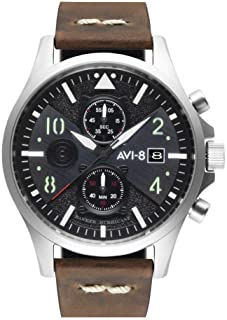 AVI-8 Men's Hawker Hurricane 45mm Brown Leather Band Steel Case Quartz Black Dial Analog Watch AV-4068-01