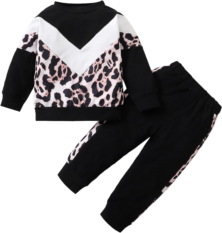 Toddler Little Girl Clothes Long Sleeve Leopard Sweatshirt Pants 2Pcs Outfits Set