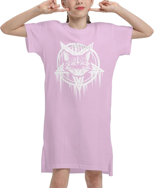 Satanic Black Metal Cat Girls' Short Sleeve Dress T-Shirt Dresses Summer T-Shirt Dress