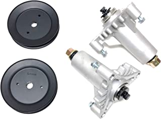 2 Heavy Duty Spindle Assembly Replaces 130794, 532130794 Includes 2 Pulleys for 129861, 153535, 173436 . Thicker Cast Metal Than FSP Includes Hardware, Mounting Holes Tapped