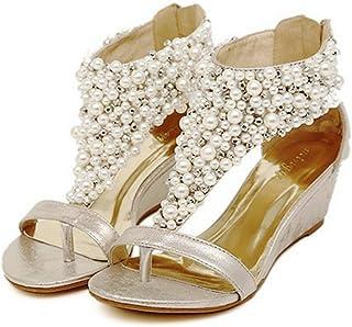 2b7e6d123af693 yibuzhiyu Gold Women Crystal Pearl Wedge Mid Heel Ankle Strap Wedding Bride Sandal  Shoes