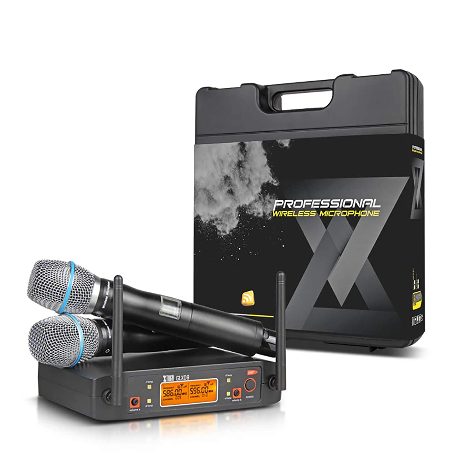 XTUGA GLXD8 Rocket Audio UHF Microphone System with Carry case 2 Metal handhled MIC Box for Stage Church Use for Family Party, Church, Small Karaoke Night (F)