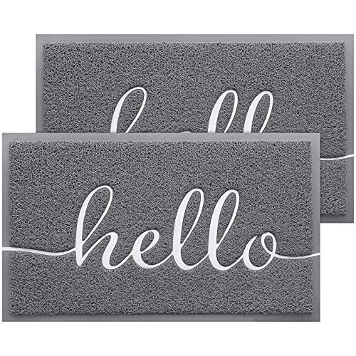 BeneathYourFeet Door Mat 2-Pack Indoor Outdoor Doormat Multiple-use Welcome Mats for Front Door Easy to Clean Garage Floor Mat Durable Wear-Resistant Rugs for Outside Entry(30'x17.5',Grey)