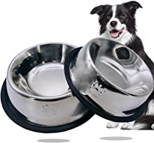YQBOOM Dog Food Bowls Set Stainless Steel Non-Slip Dog Dishes 2 Pack Rubber Base Metal Pet Water Bowl for Large Medium Dogs Cats 16 Oz