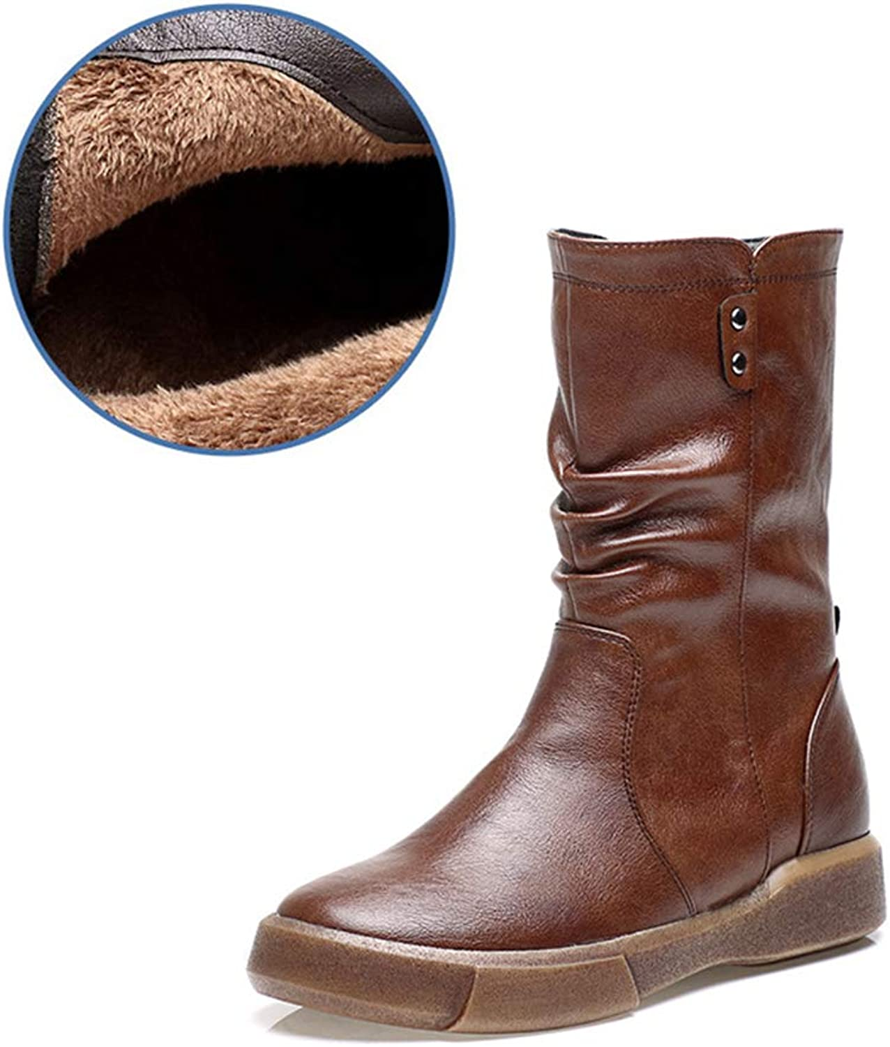 ALLAK Women Leather Boots Flat Low Short Tube Boots Casual shoes Martin Boots