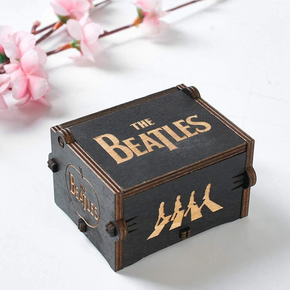 DAUERHAFT Caja de m/úsica cl/ásica de Madera Caja de m/úsica para Adorno de Escritorio para Regalos de cumplea/ños Black Beatles