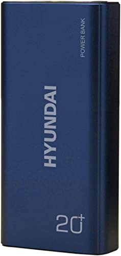 HYUNDAI 20000 Mah Li Polymer Metal Design Power Bank 2 1A Dual Inputs Type C Micro USB And 2 1A Dual Outputs USB Type C For All Android And Ios HY PB 1010 Blue