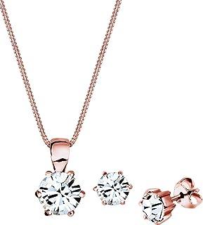 Elli Women 925 Sterling Silver Classic Swarovski Crystals Rosegold-Plated Jewellery Set