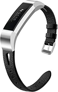 OenFoto Bands Compatible Fitbit Alta/Alta HR/Ace, Adjustable Classic Genuine Leather Wristband Replacement Watch Band Strap Accessory Bracelet for Fitbit Alta/Alta HR/Ace Smart Watch, Large Small