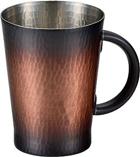 新光金属(Sinkoukinzoku) マグカップ 赤銅仕上げ 大(容量:530ml) 純銅赤銅仕上げ 手打ち鎚目マグカップ 大 BR-102
