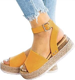 Camisunny Fashion Summer Beach Sandals for Women Wedge Open Toe Ankle Strap Sandal Espadrille Platform Flat