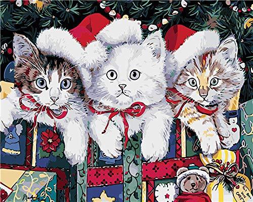 empty DIY Malen Nach Zahlen Kits Katze Mit Weihnachtsmütze Vorgedruckt Leinwand-Ölgemälde Geschenk Für Erwachsene Kinder Home Haus Dekor - 40*50 cm Rahmenlos