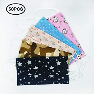 Pack Of 50 Disposable Printed Earloop Dust Protective Face Mask for Kids Children Women Lady