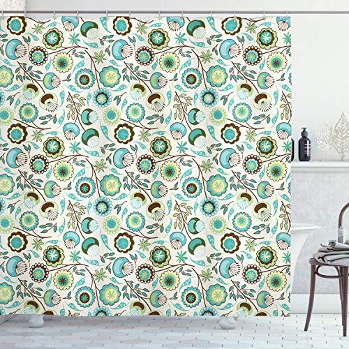 ABAKUHAUS Retro Duschvorhang, Pastell Künstlerische Natur, Personenspezifisch Druck inkl.12 Haken Farbfest Dekorative mit Klaren Farben, 175 x 180 cm, Mint grüner Himmel Blauer beige