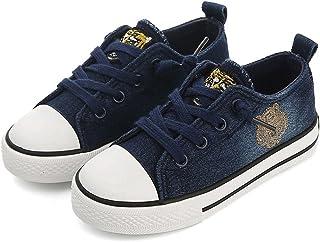 [XINXIKEJI] 子供靴 女の子 男の子 ガールズ ボーイズ キッズシューズ ローカット スニーカー デッキシューズ 履きやすい 滑り止め 通気 軽い キャラクター コンフォート 可愛い 通学靴 運動靴 内寸19.5cm ネイビー