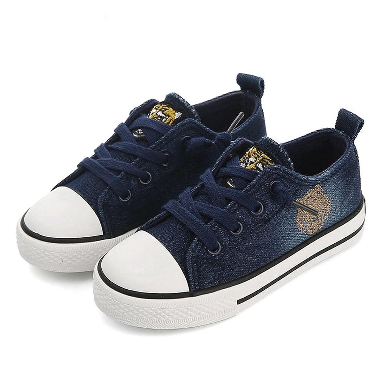 [XINXIKEJI] 子供靴 女の子 男の子 ガールズ ボーイズ キッズシューズ ローカット スニーカー デッキシューズ 履きやすい 滑り止め 通気 軽い キャラクター コンフォート 可愛い 通学靴 運動靴 内寸18.5cm ネイビー