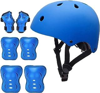 Skateboard Helmet for Kids 3-8 Years Toddler Bike Helmet with Knee Elbow Wrist Pads, Child Adjustable Cycling Helmet for Cycling, Skating, Scooter, Toddler Balance Bike