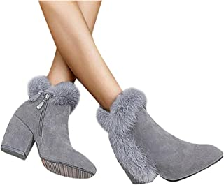 Boots for Women,Womens Boots Soft Hairy Chunky High Heels Ankle Booties Winter Comfy Warm Casual Womens Shoes