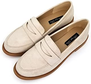 8f06d924a8c T-JULY Women s Fashion Oxfords Shoes - Retro Slip On Low Heel Round Toe  Casual