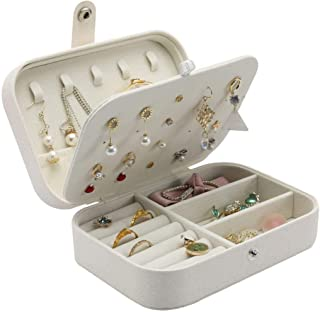 ALINK Travel Jewelry Case,Small Jewelry Box,Portable Travel Jewellery Box Trays Organizer Display Storage Case for Rings a...