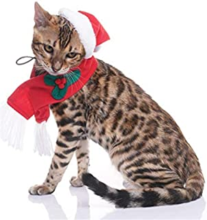 EXPAWLORER Christmas Cat Costume Santa Hats Scarf Set, Warm Xmas Gift Adorable Accessories Soft Hat with Scarf for Cat and Puppy