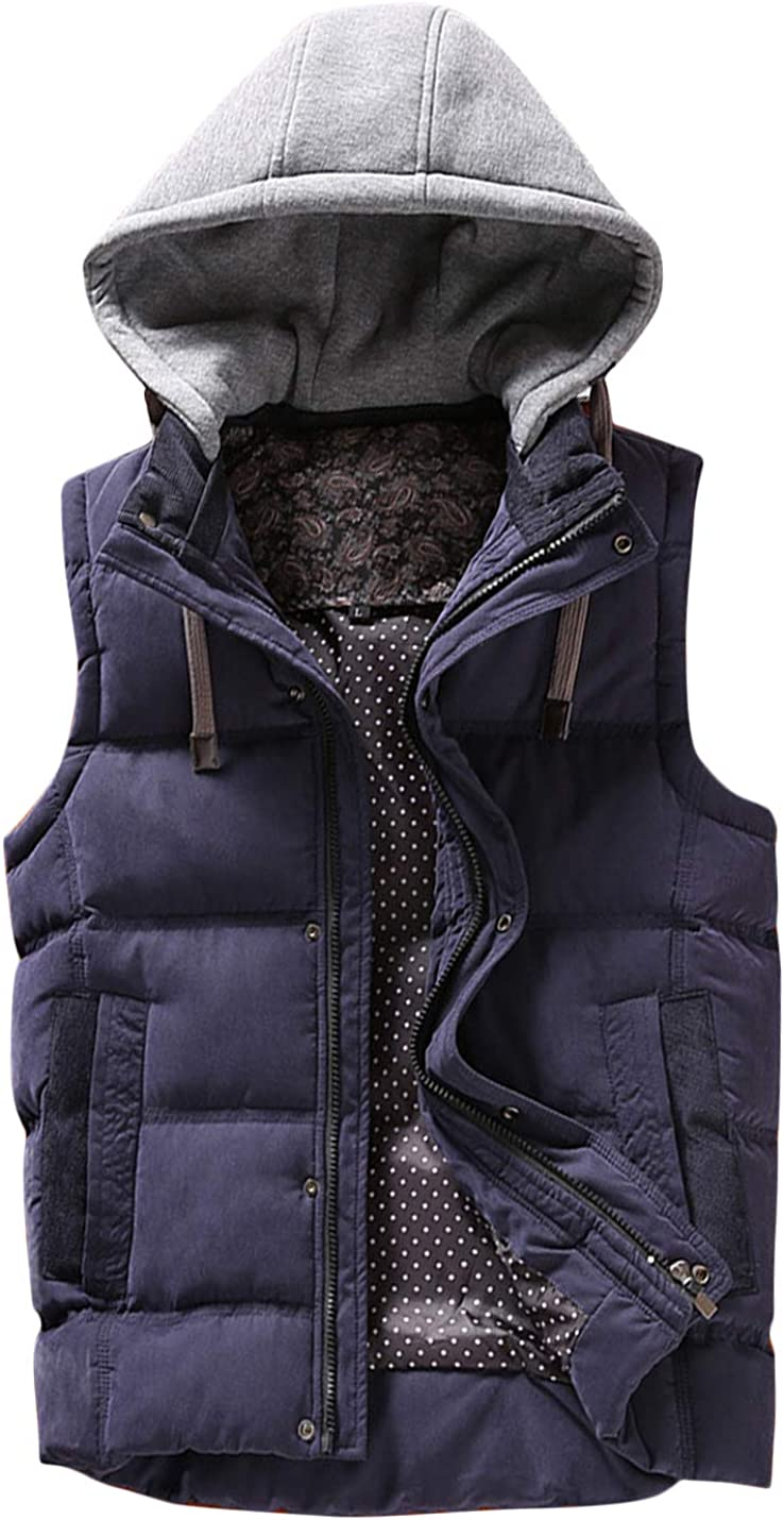 HaoMay Men's Winter Cotton-Padded Quilted Vests Jacket with Removable Hood