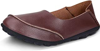 Women's Cowhide Leather Casual Flat Driving Loafers Driving Moccasin Shoes