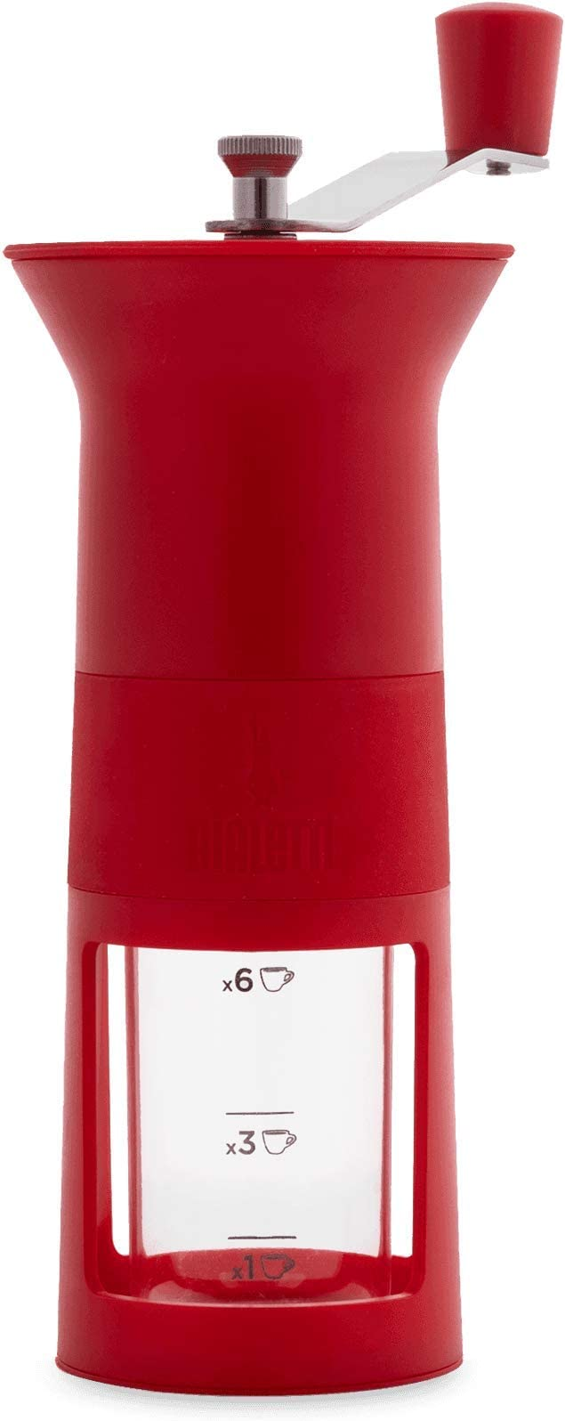 Bialetti – Molinillo de café Manual Rojo plástico, plástico, Negro, 11,5 x 8,5 x 21,5 cm
