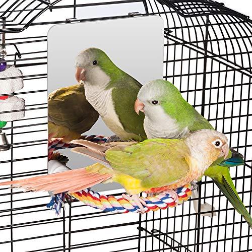 Colorday 18cm Edelstahl Vogel Spiegel mit Seil Perch, Vogelspielzeug (M)
