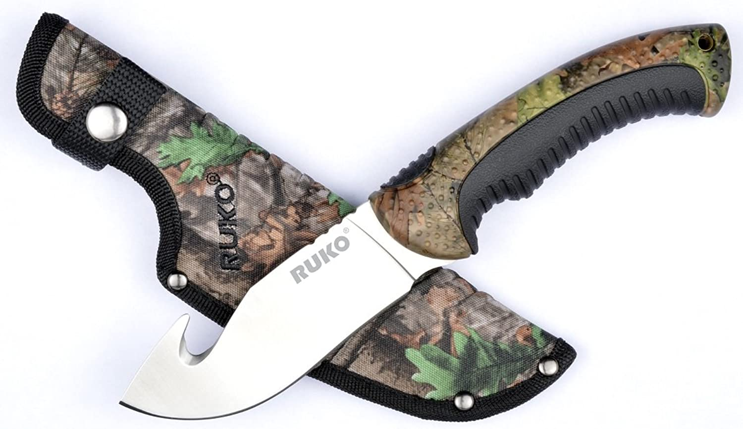 RUKO RUK0154GHCACS 7Cr17MoV Fixed Gut Hook Blade Knife WX3D Handle with RhinoHide Insert Clamshell, 41 2