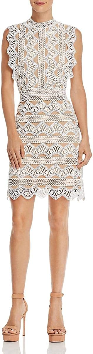 Lucy Paris Womens Lace Knee-Length Cocktail Dress White S