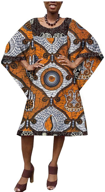African Style Ankara Print Women Casual Dress Tailor Made Three Quarter Cloak Sleeve Knee Length 100% Wax Cotton AA1825079A